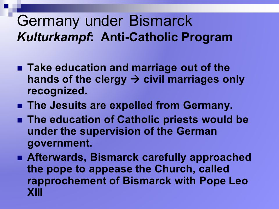 Germany under Bismarck Kulturkampf: Anti-Catholic Program