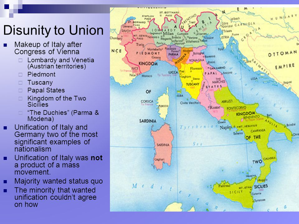 Disunity to Union Makeup of Italy after Congress of Vienna