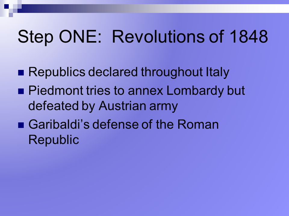 Step ONE: Revolutions of 1848