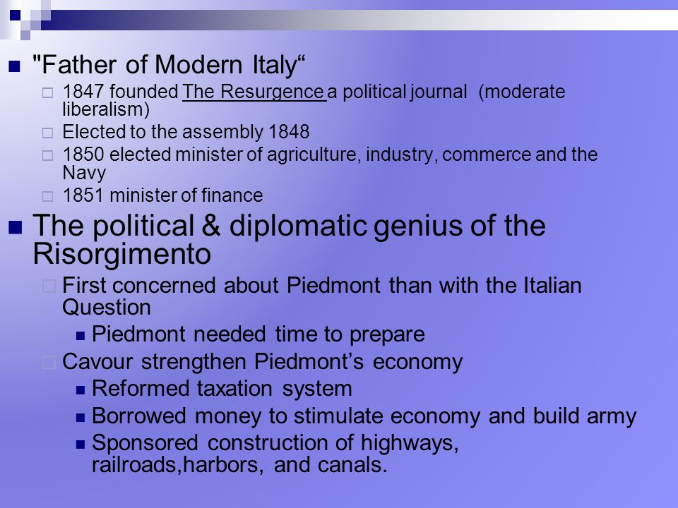 The political & diplomatic genius of the Risorgimento