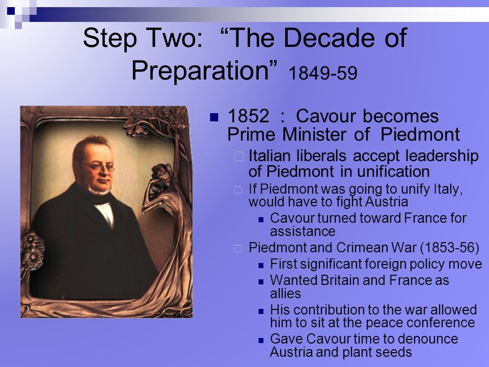 Step Two: The Decade of Preparation 1849-59