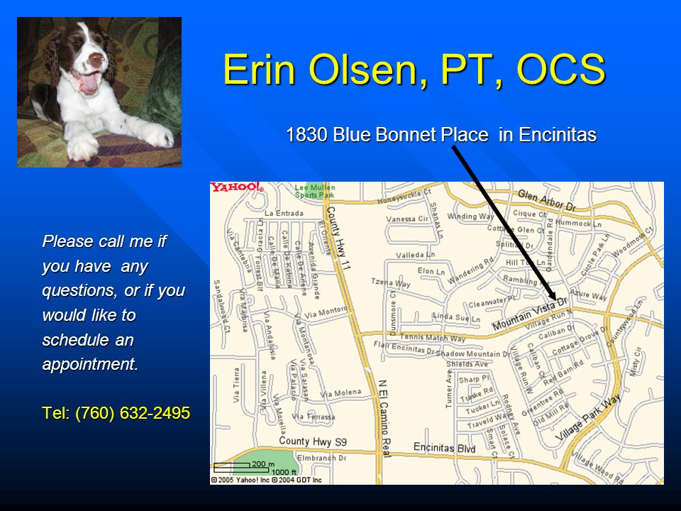 Erin Olsen, PT, OCS 1830 Blue Bonnet Place in Encinitas