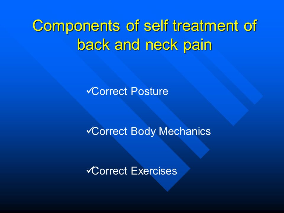 Components of self treatment of back and neck pain