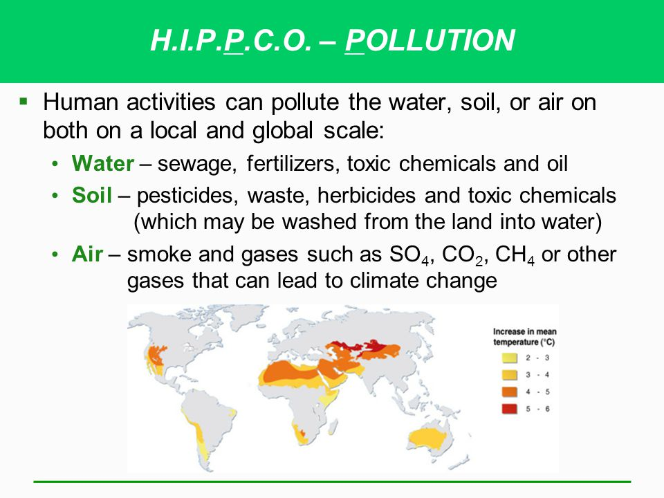 H.I.P.P.C.O. – POLLUTION Human activities can pollute the water, soil, or air on both on a local and global scale:
