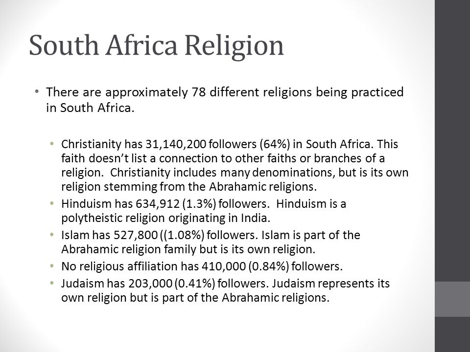 South Africa Culture Group Information From The CIA World Factbook - List of different religions in the world