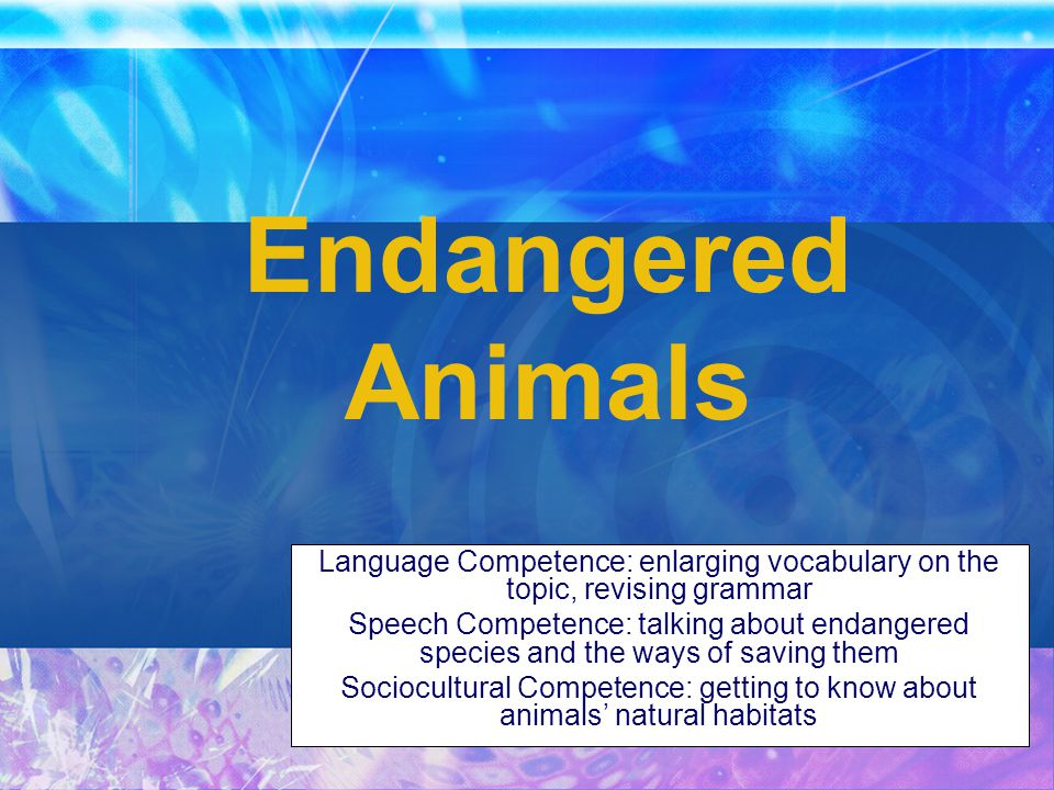 endangered species speech The main causes of endangerment and extinction in the united states dan evans  to understand why species become endangered or go extinct, we.