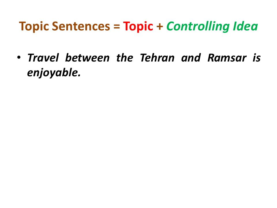 Topic Sentences = Topic + Controlling Idea