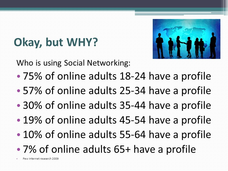 Okay, but WHY 75% of online adults have a profile