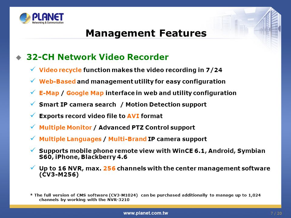 Management Features 32-CH Network Video Recorder