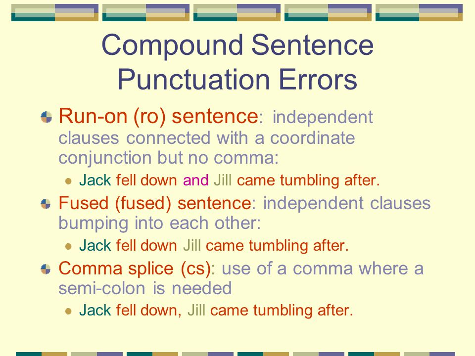 Compound Sentence Punctuation Errors