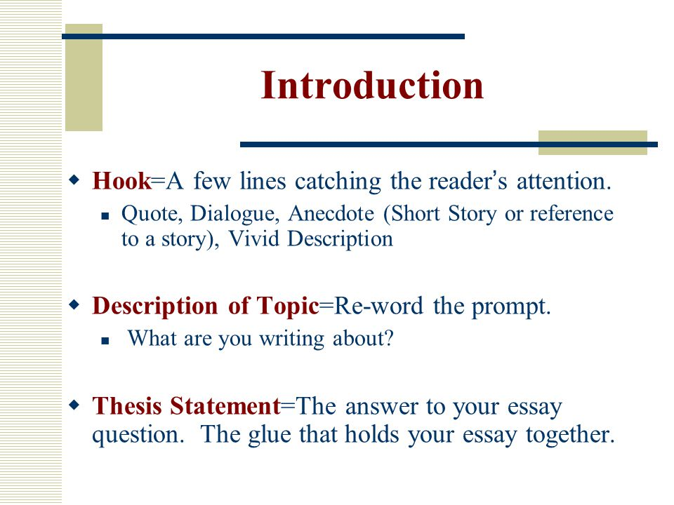 introductory lines for essays Introductory paragraph examples: definition essay hooks: in yellow hook elaborations: in red thesis statements: in blue subtopics for the writing test only: in green.