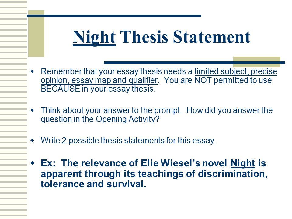essay on the book night by elie wiesel Night by elie wiesel free essays, term papers and book reports thousands of papers to select from all free.