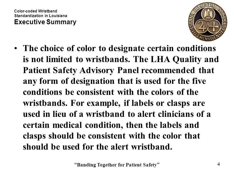 Color-coded Wristband Standardization in Louisiana Executive Summary