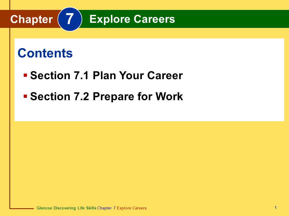 7 Contents Chapter Explore Careers Section 7.1 Plan Your Career