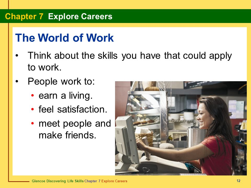The World of Work Think about the skills you have that could apply to work. People work to: earn a living.