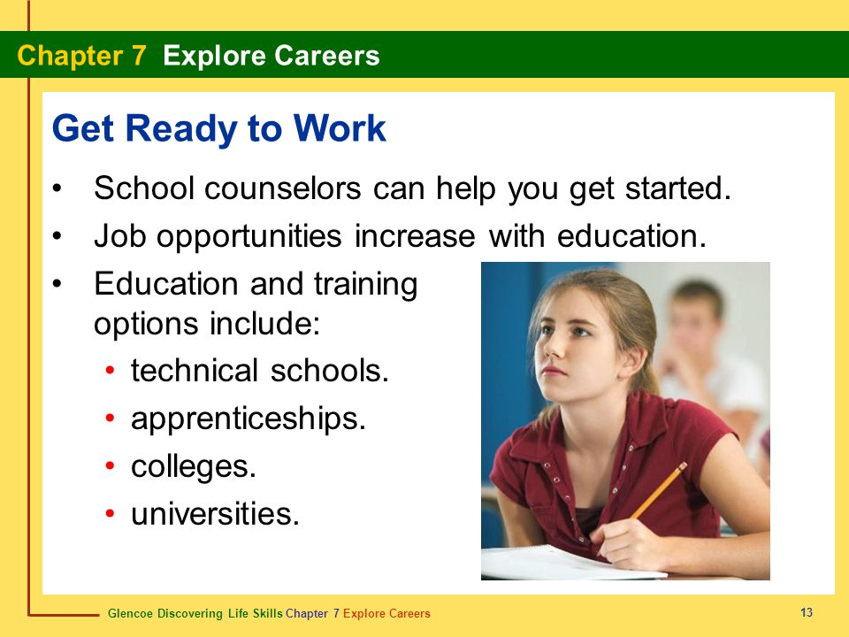 Get Ready to Work School counselors can help you get started.
