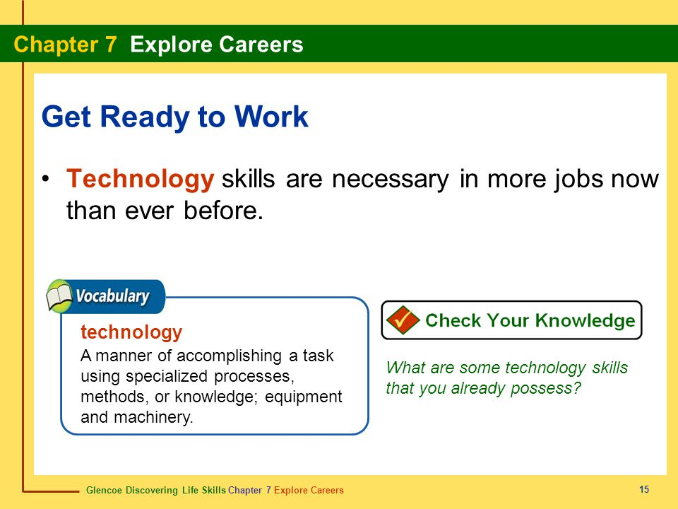 Get Ready to Work Technology skills are necessary in more jobs now than ever before. technology.