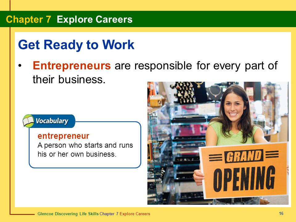 Get Ready to Work Entrepreneurs are responsible for every part of their business. entrepreneur.