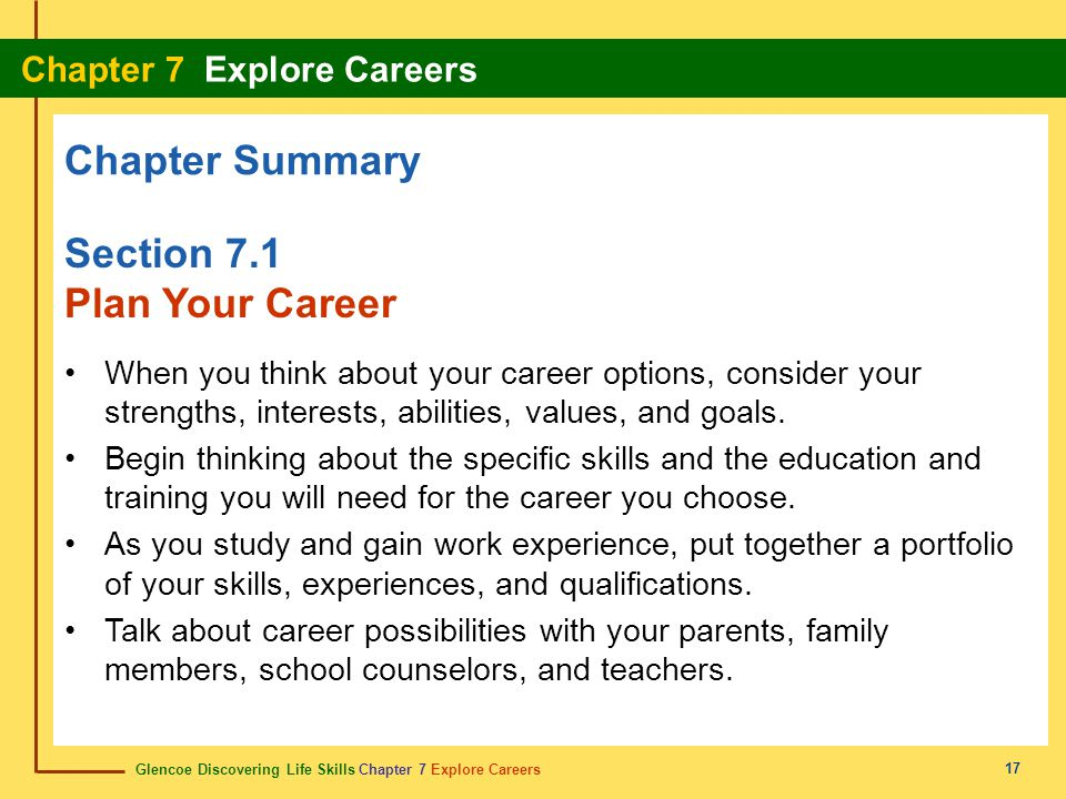 Chapter Summary Section 7.1 Plan Your Career