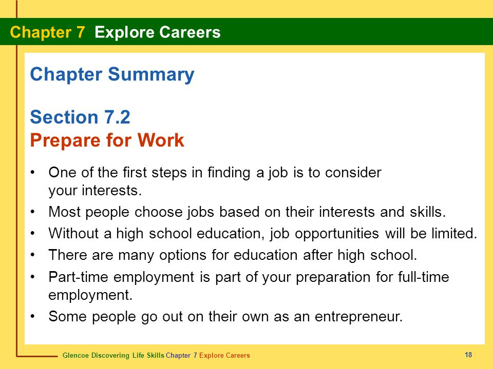 Chapter Summary Section 7.2 Prepare for Work