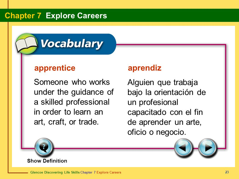 apprentice aprendiz. Someone who works under the guidance of a skilled professional in order to learn an art, craft, or trade.