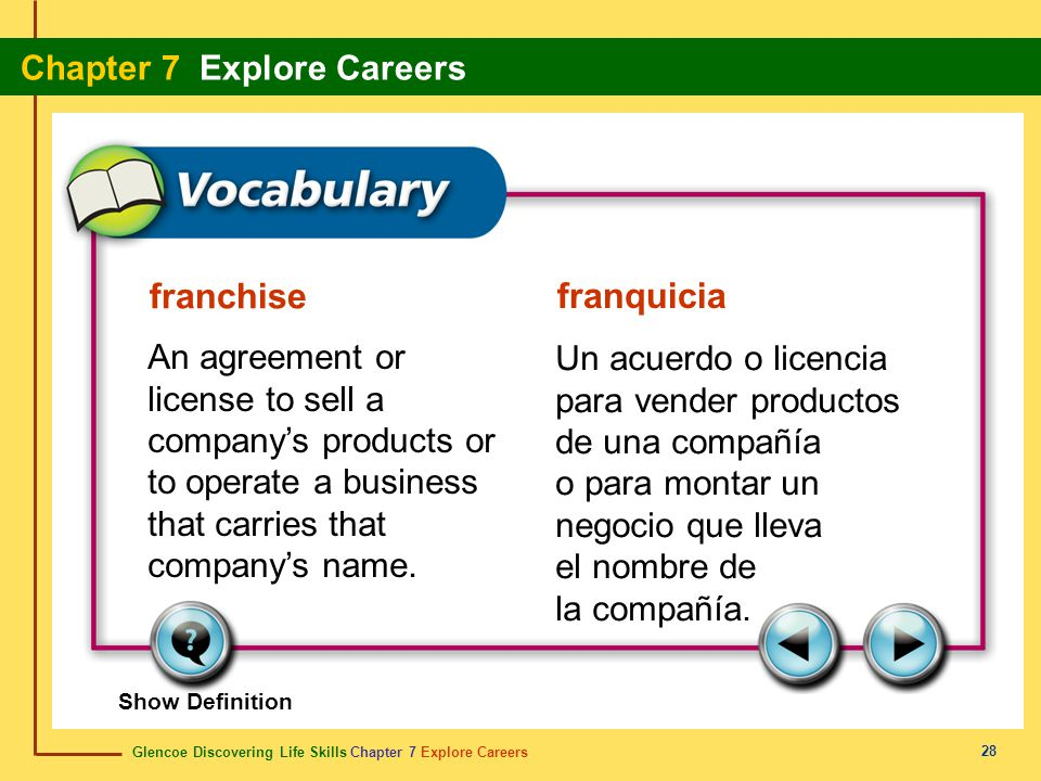 franchise franquicia. An agreement or license to sell a company's products or to operate a business that carries that company's name.