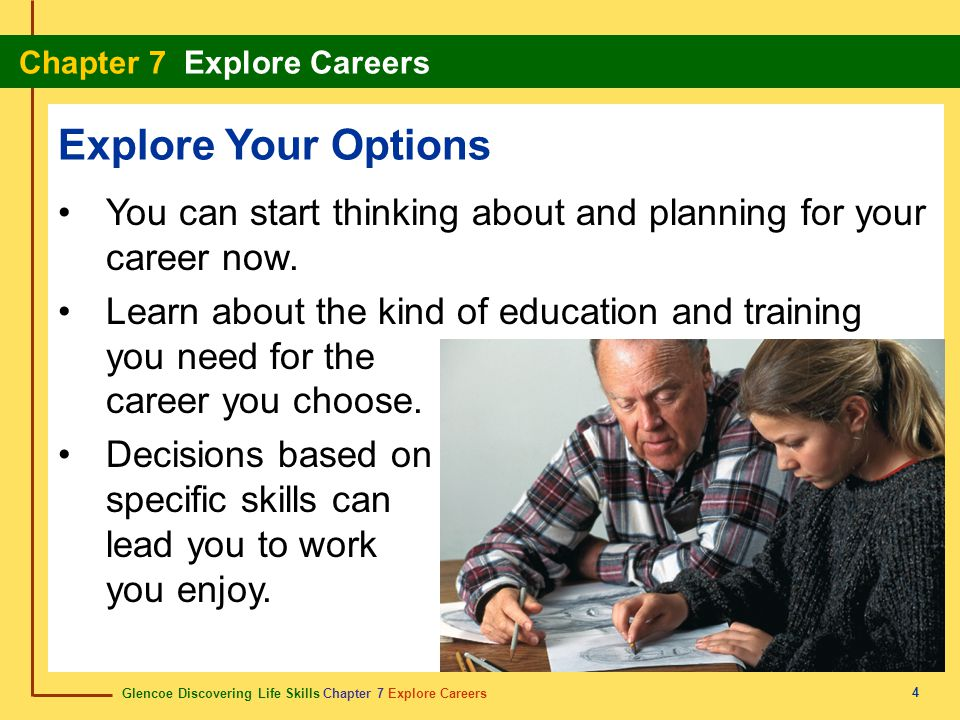 Explore Your Options You can start thinking about and planning for your career now.
