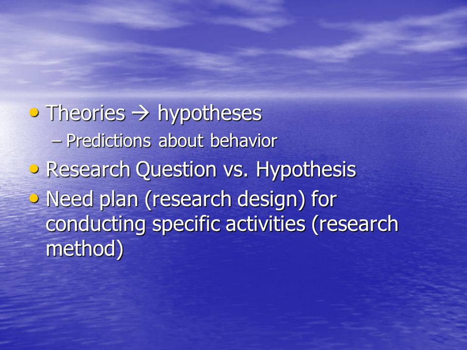 research question vs hypothesis In this case, you might state the two hypotheses like this: the null hypothesis for this study is: h o: awkward and formalistic way to ask research questions.