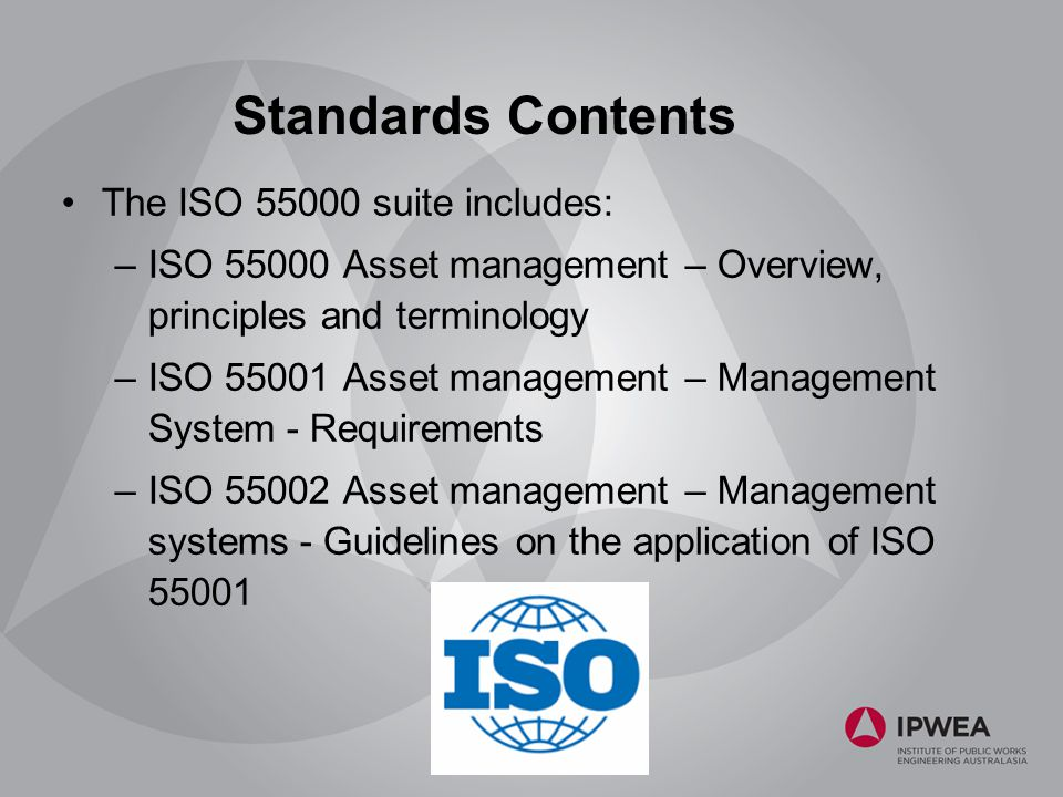 Tools to assist asset managers ppt download standards contents the iso 55000 suite includes 20 australian representation iso pc 251 asset management fandeluxe Image collections