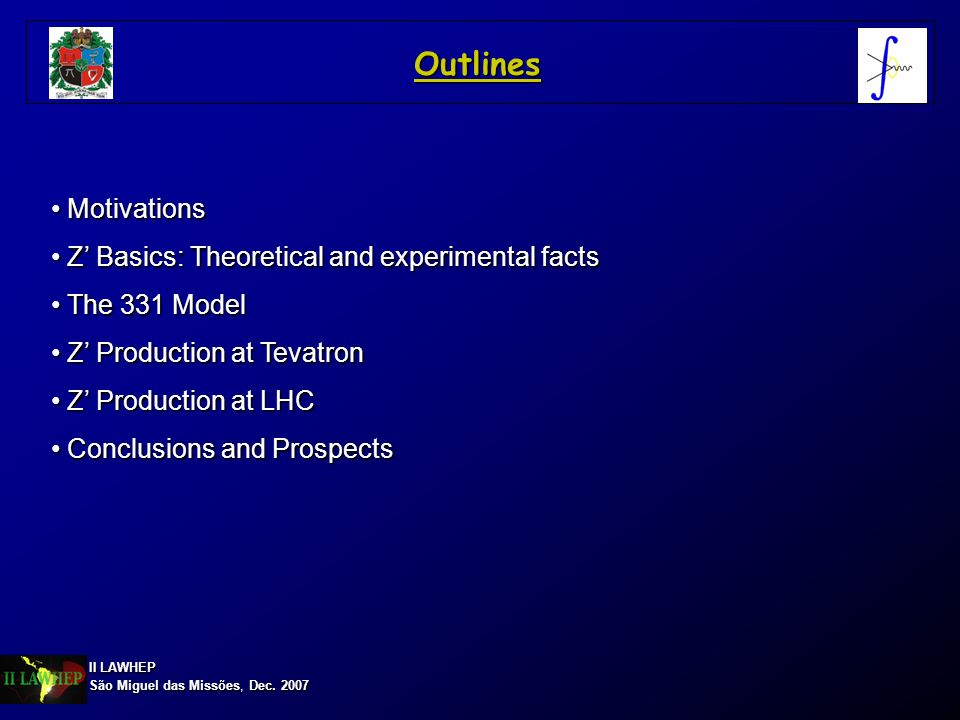 Outlines Motivations Z' Basics: Theoretical and experimental facts