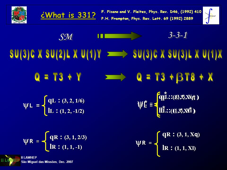 SU(3)C X SU(2)L X U(1)Y SU(3)C X SU(3)L X U(1)X Q = T3 + Y