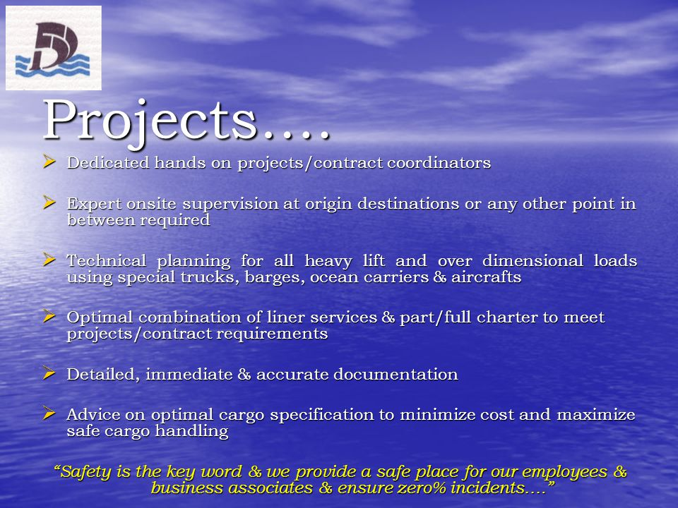 Projects…. Dedicated hands on projects/contract coordinators