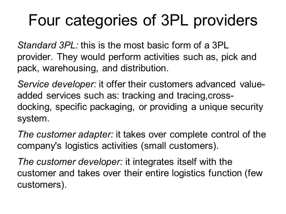 Four categories of 3PL providers
