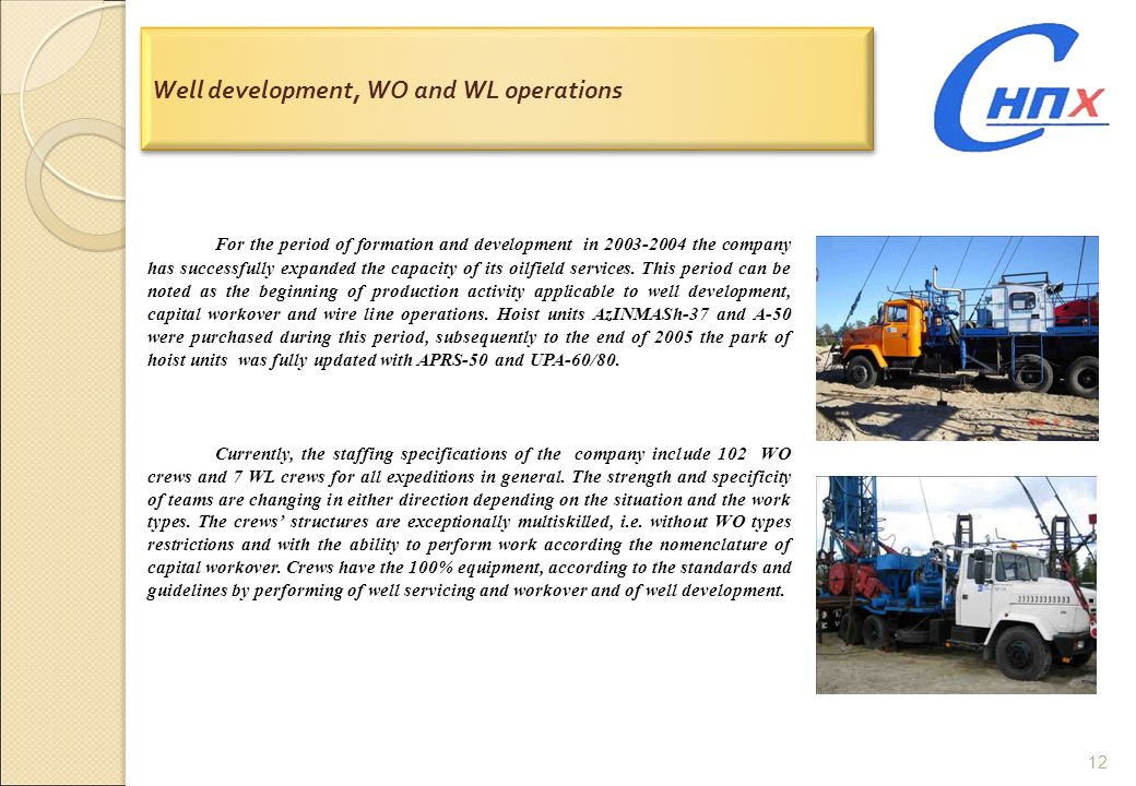 Well development, WO and WL operations