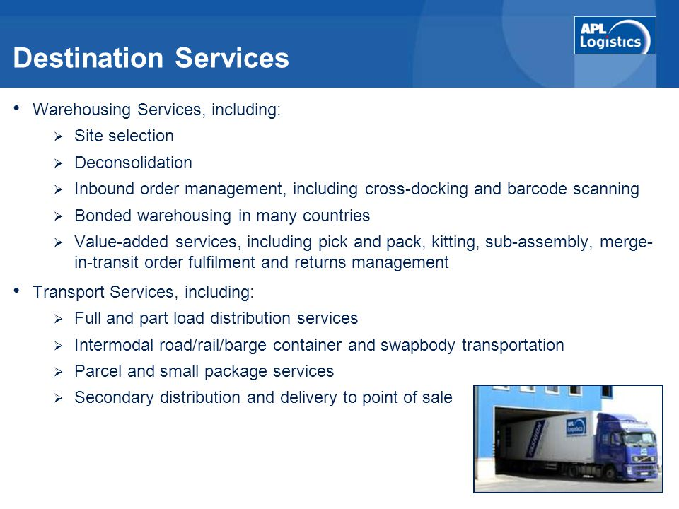 Destination Services Warehousing Services, including: Site selection