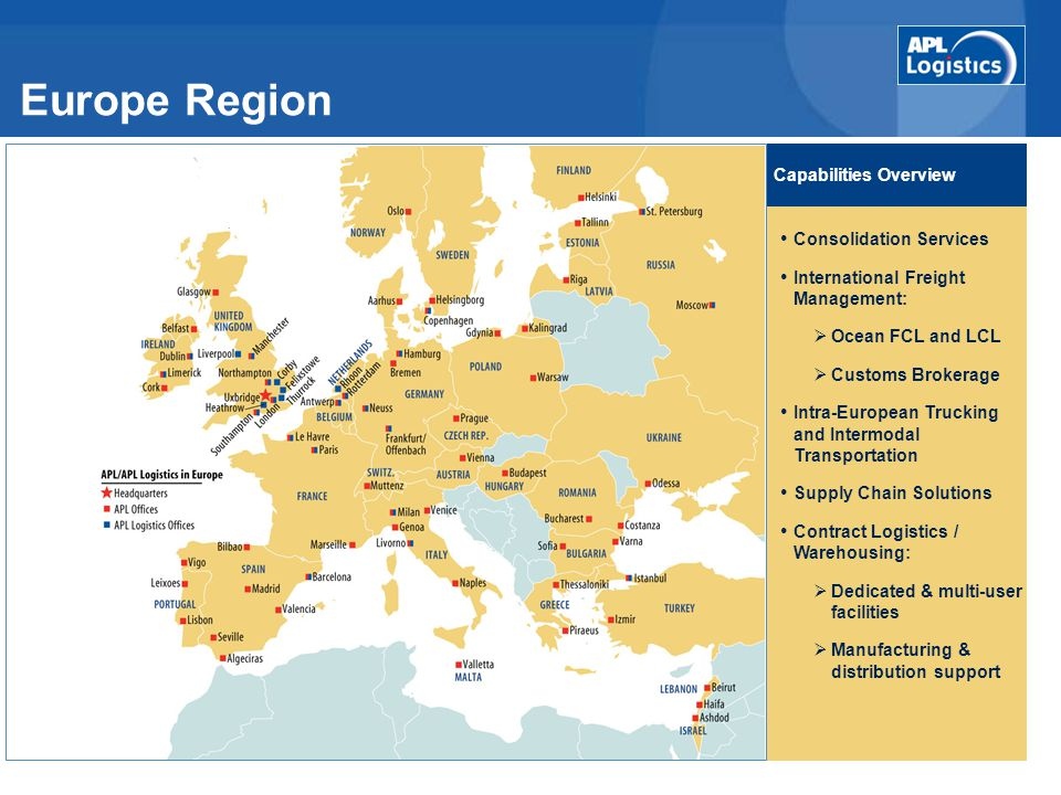 Europe Region Capabilities Overview Consolidation Services