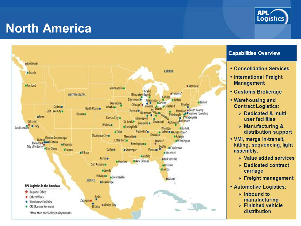 North America Capabilities Overview Consolidation Services