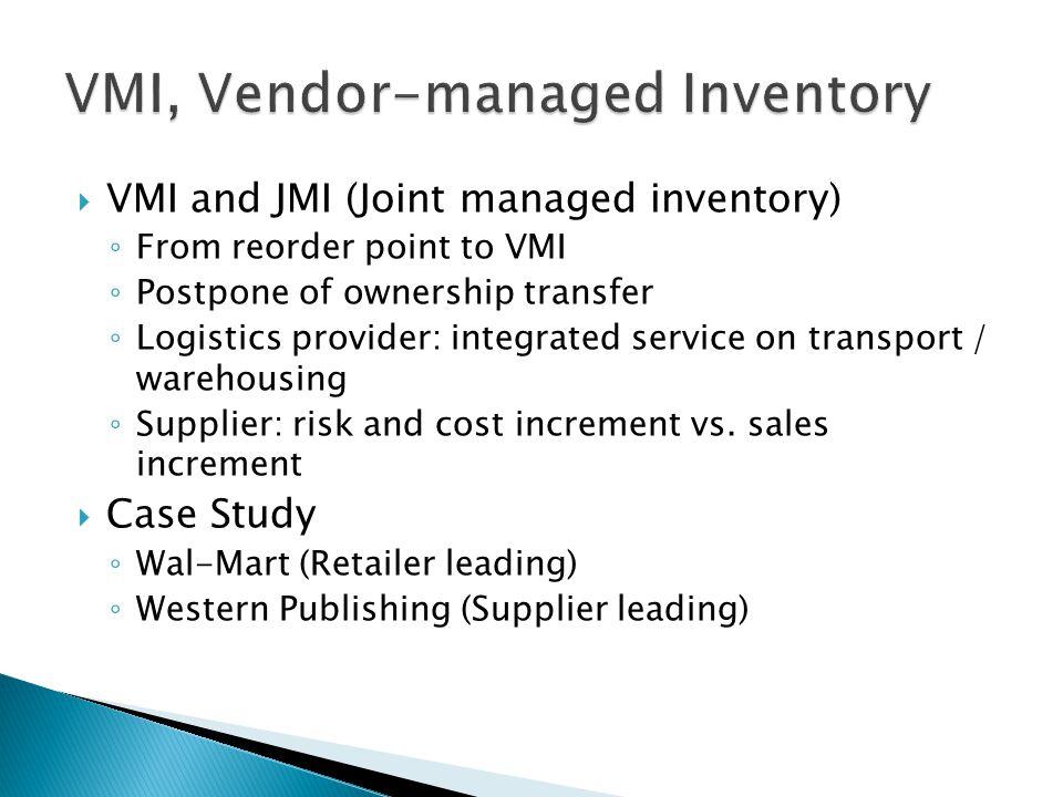 vendor managed inventory versus consignment inventory 2010-11-21  44 engineering management journal vol 22 no 4 december 2010 a reinforcement learning approach for inventory replenishment in vendor-managed inventory systems with consignment inventory zheng sui, terra technology abhijit.
