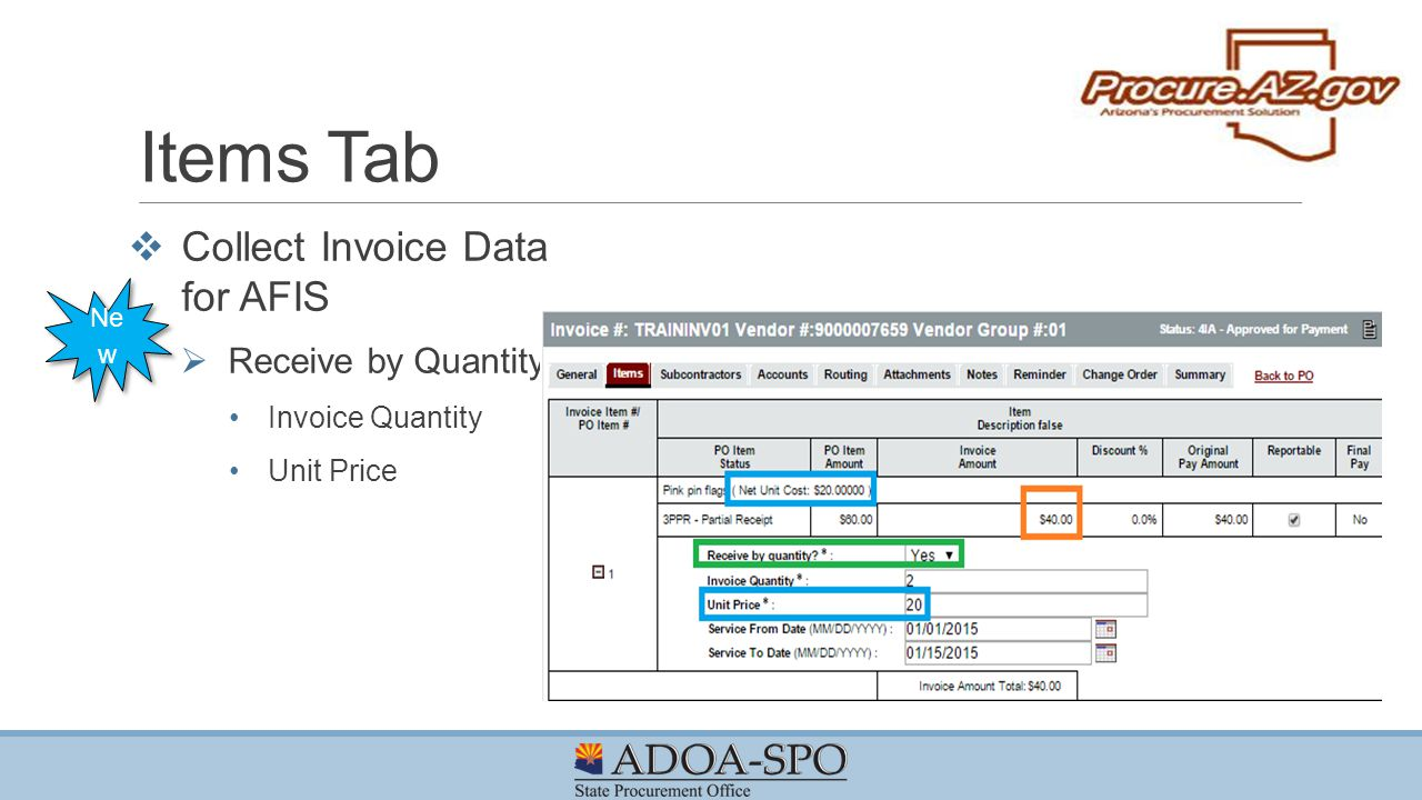 Items Tab Collect Invoice Data for AFIS Receive by Quantity