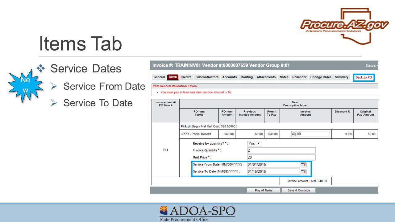 Items Tab Service Dates Service From Date Service To Date New