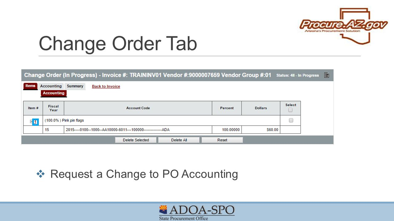 Change Order Tab Request a Change to PO Accounting