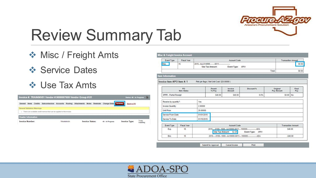 Review Summary Tab Misc / Freight Amts Service Dates Use Tax Amts