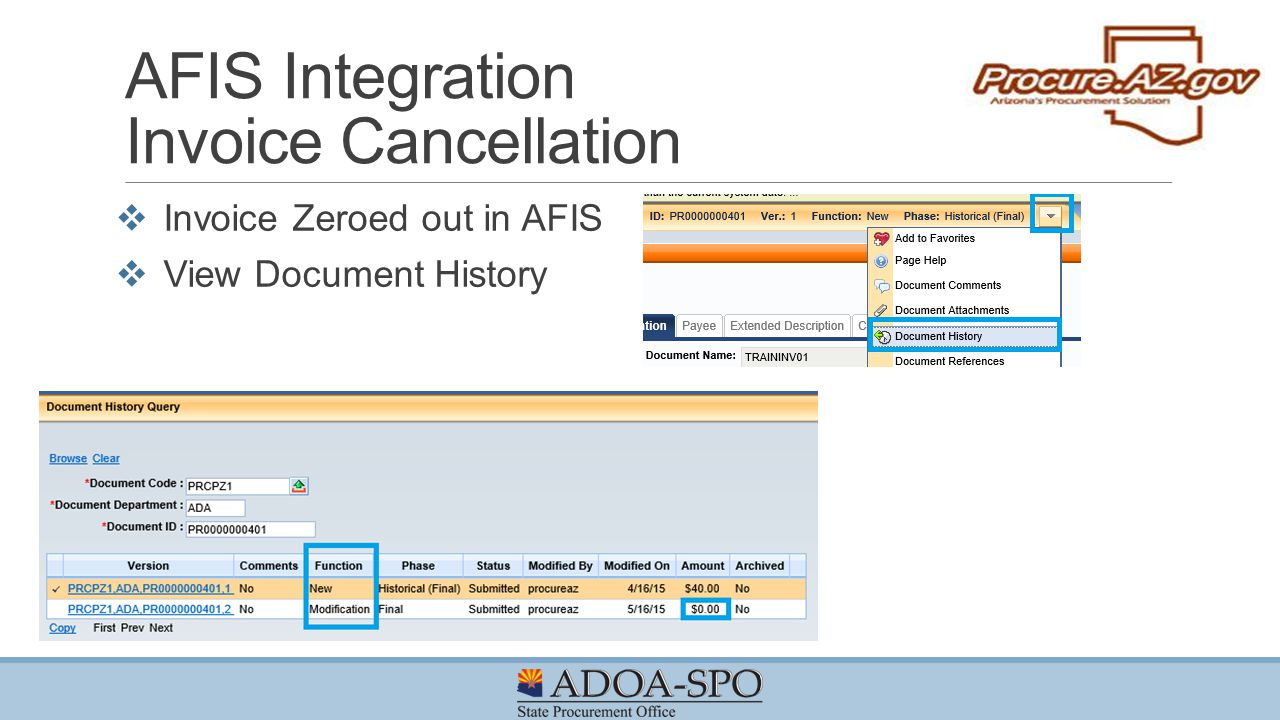 AFIS Integration Invoice Cancellation