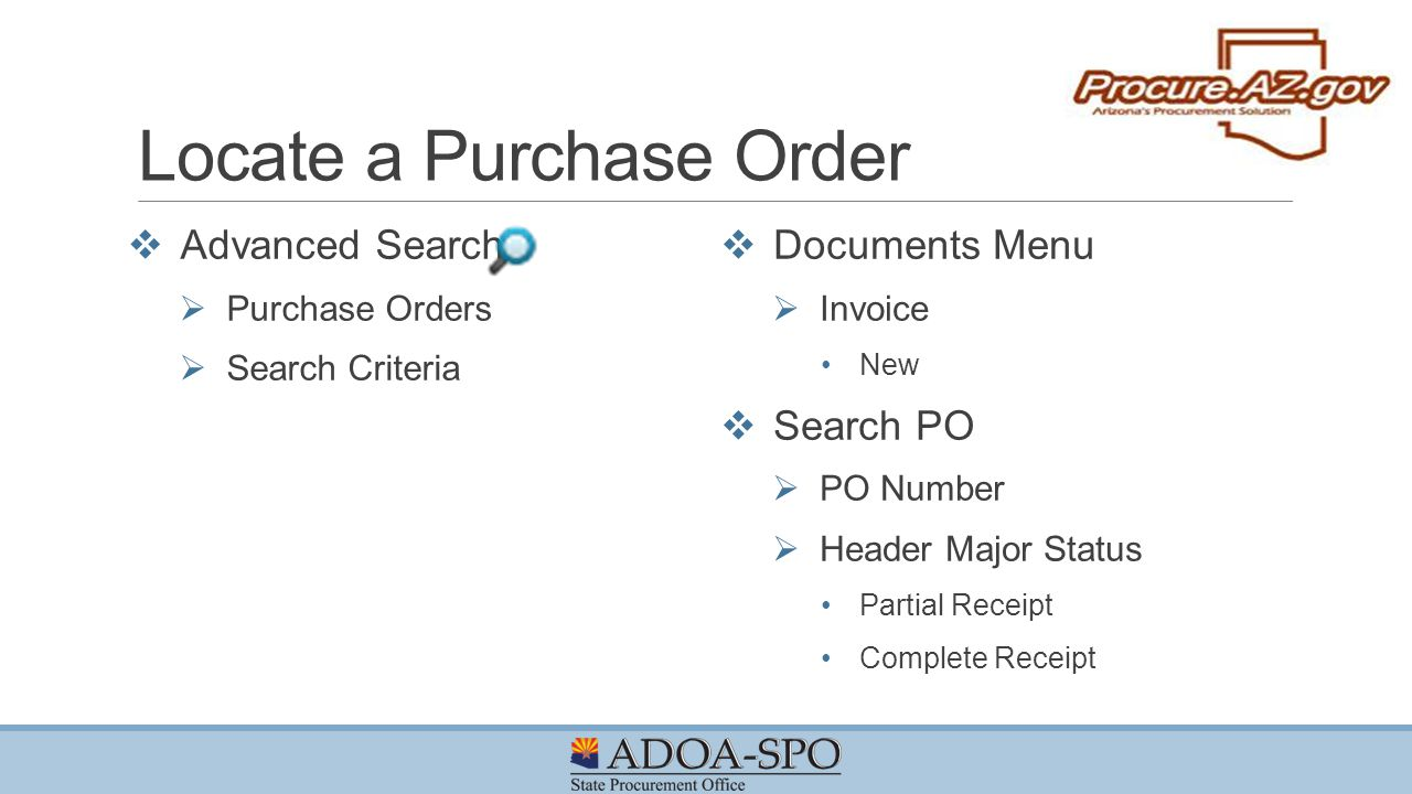 Locate a Purchase Order