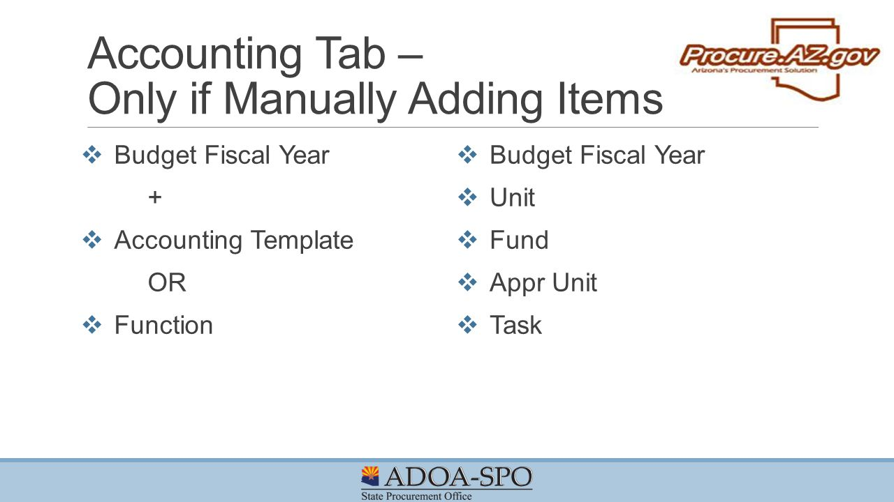 Accounting Tab – Only if Manually Adding Items