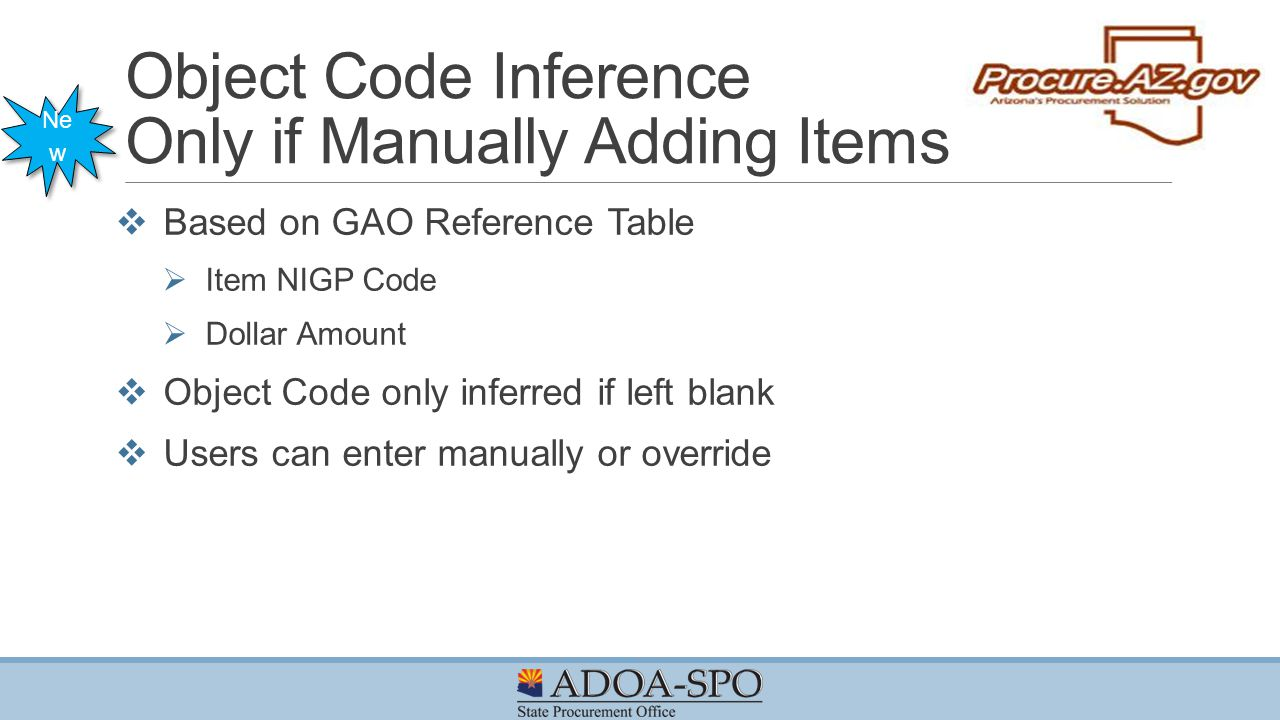 Object Code Inference Only if Manually Adding Items
