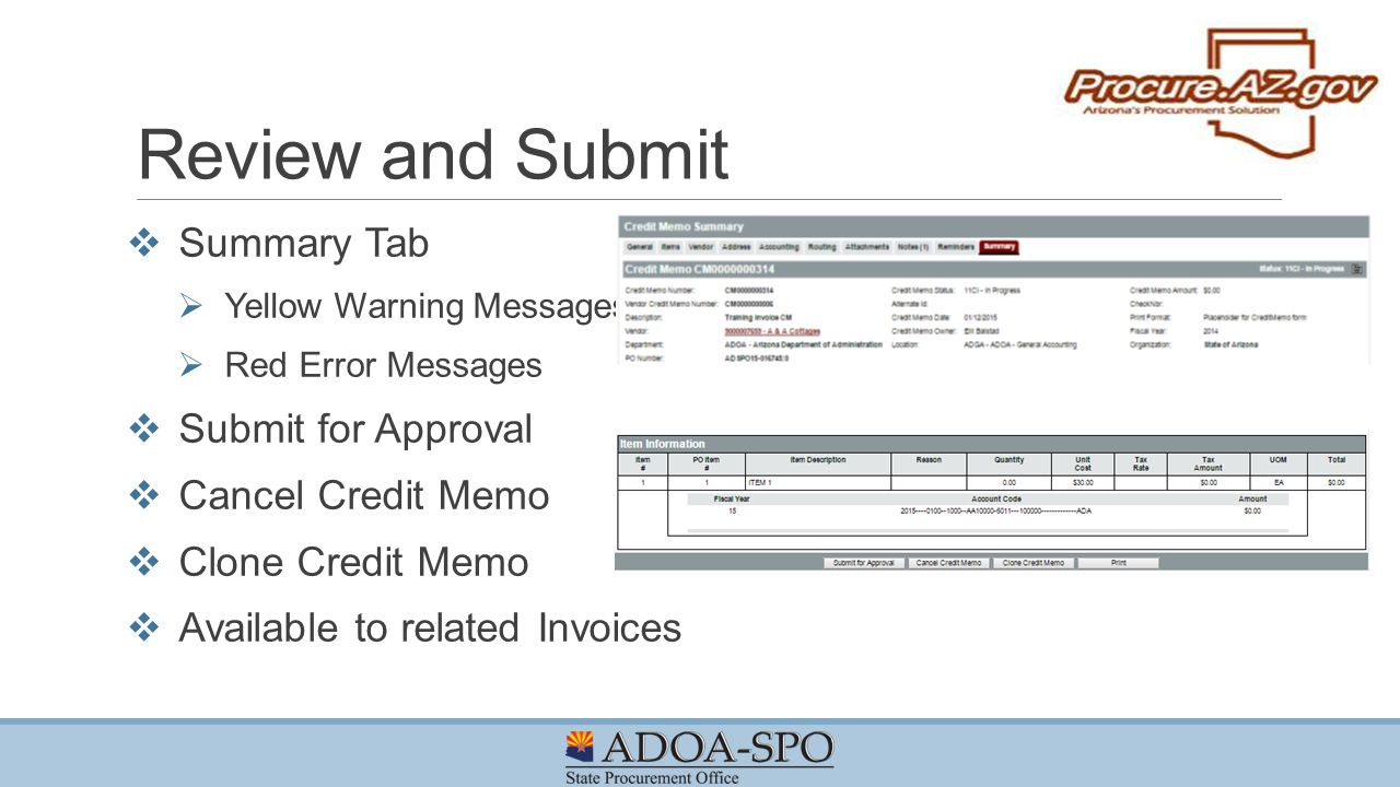 Review And Submit Summary Tab Submit For Approval Cancel Credit Memo