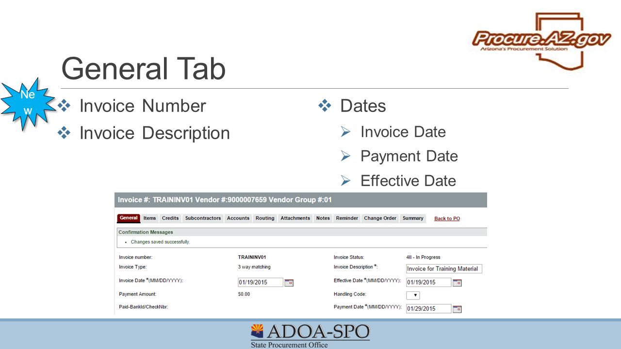 General Tab Invoice Number Invoice Description Dates Invoice Date