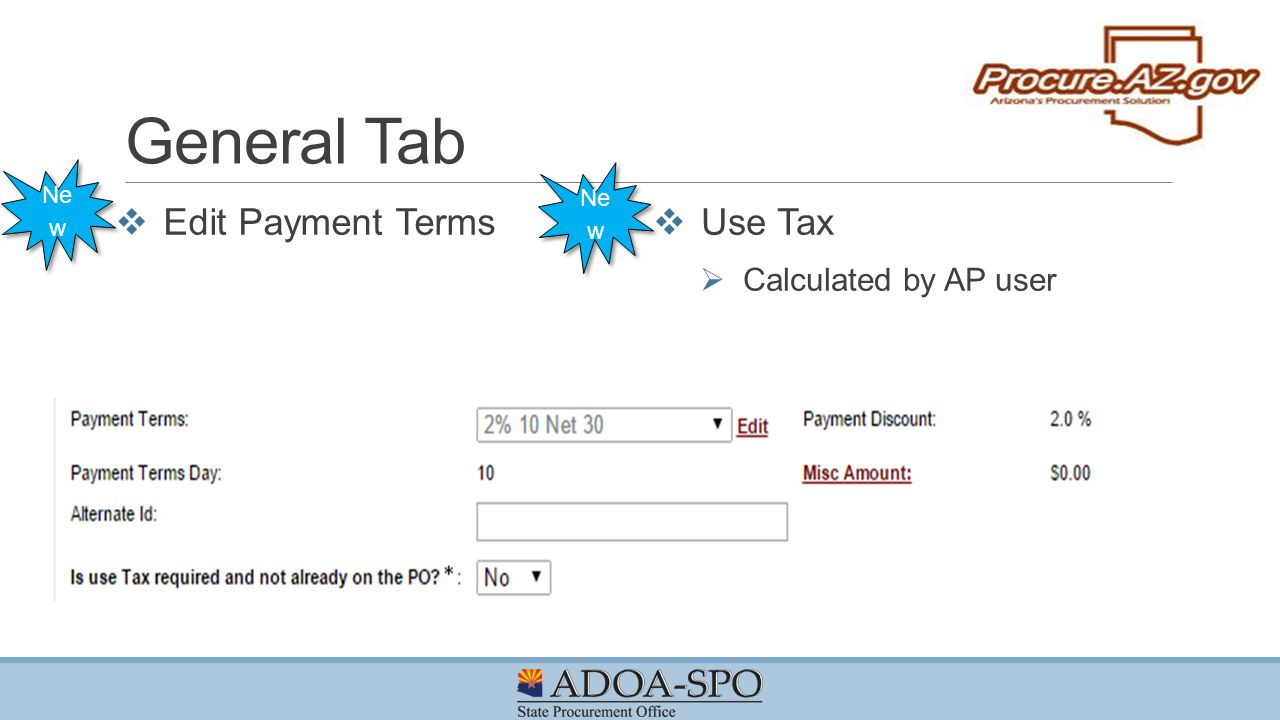 General Tab Edit Payment Terms Use Tax Calculated by AP user New New