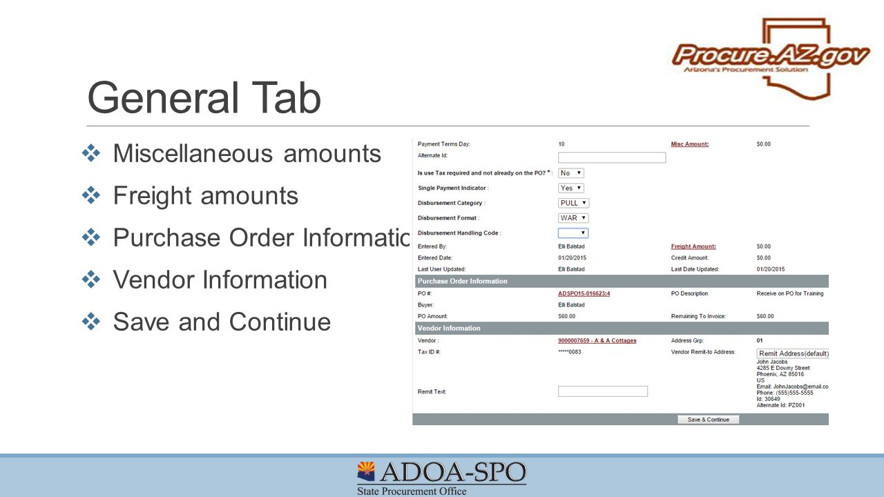 General Tab Miscellaneous amounts Freight amounts